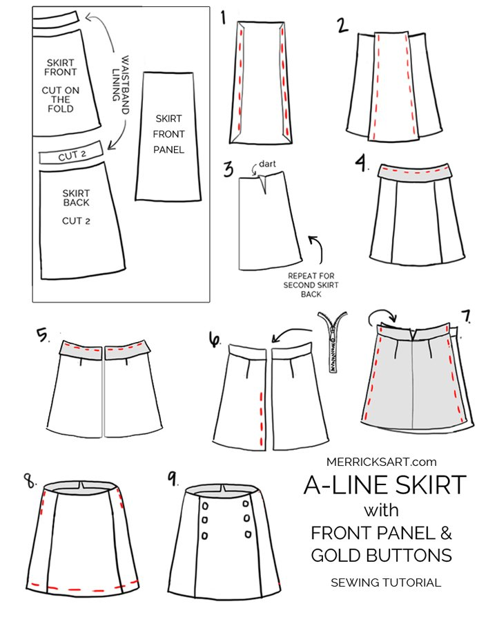 how to make a plaid skirt with gold buttons