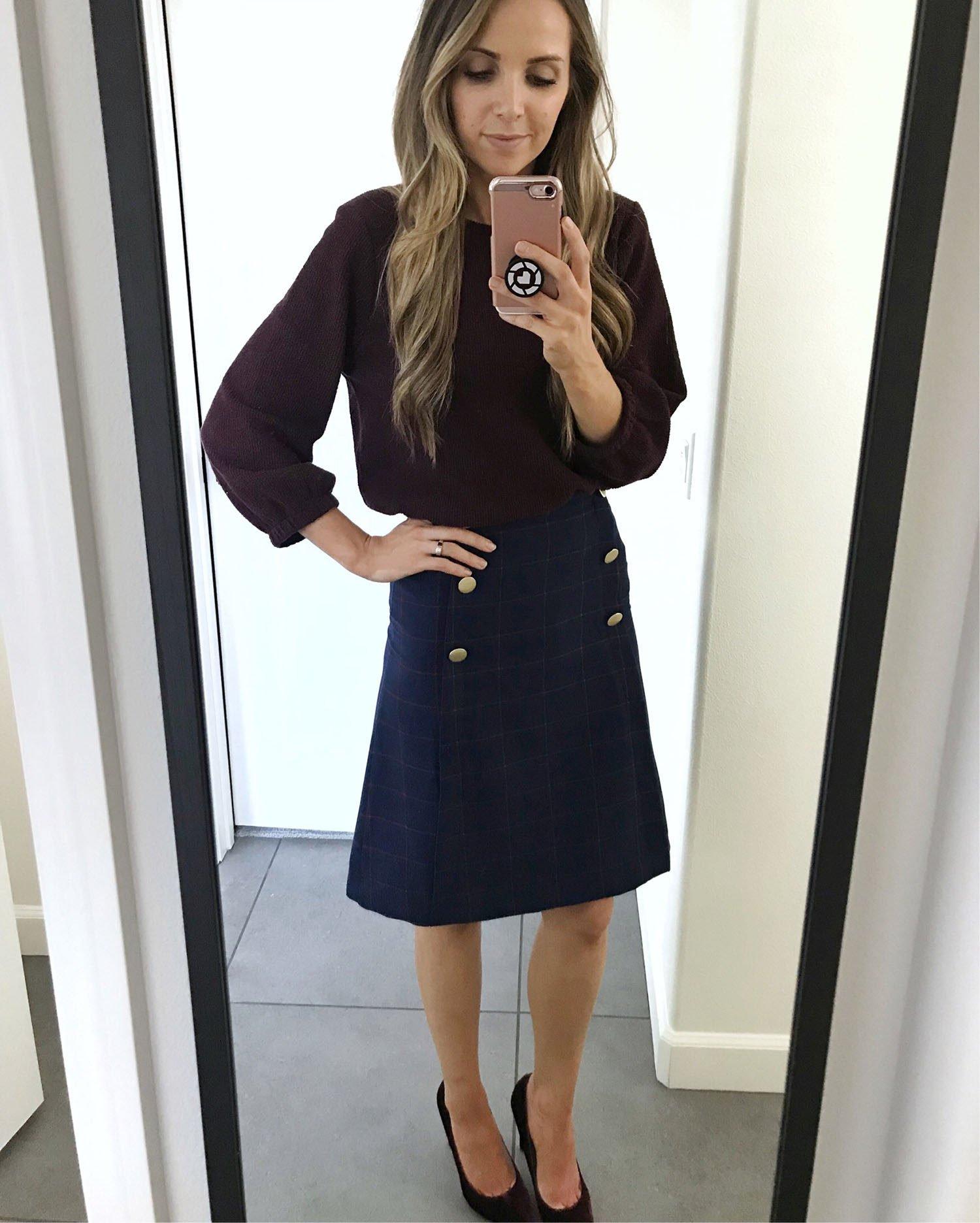plaid skirt and sweater | merricksart.com