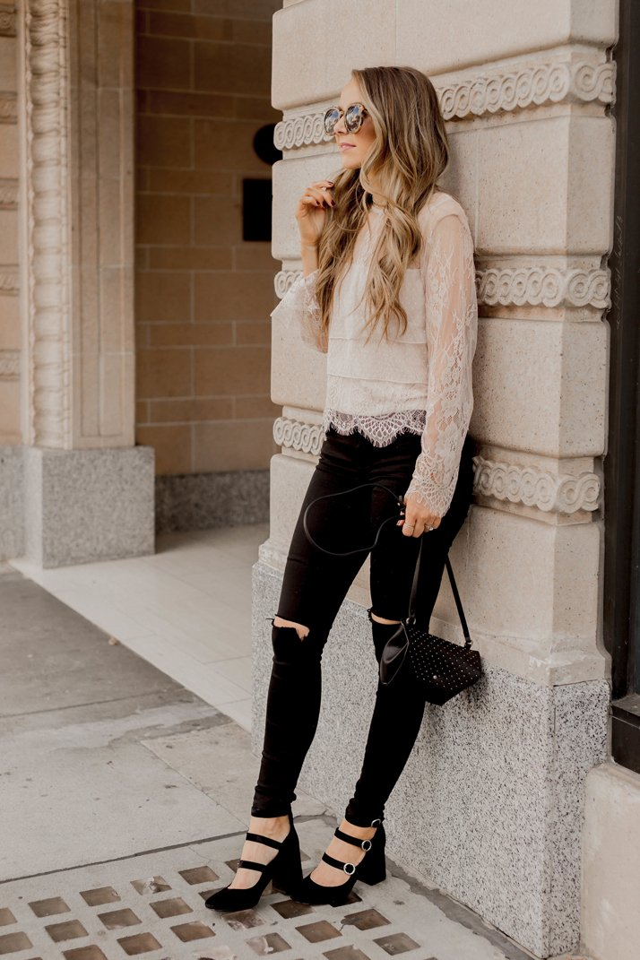 black and ivory holiday outfit