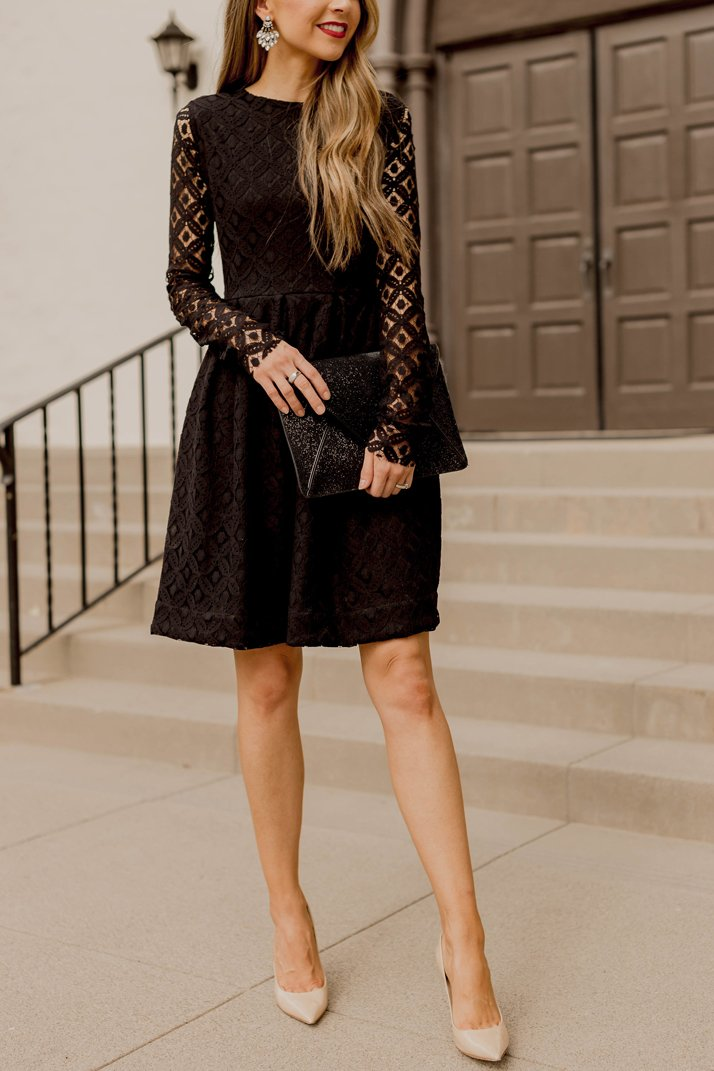 black lace dress and nude pumps