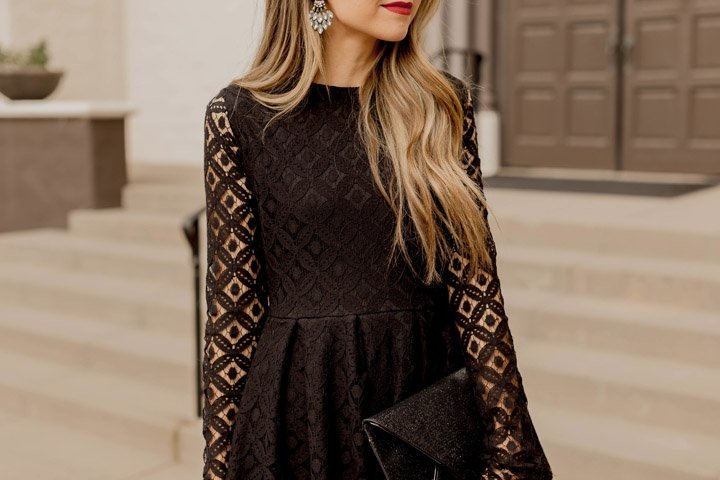 lace sleeves and diamond statement earrings