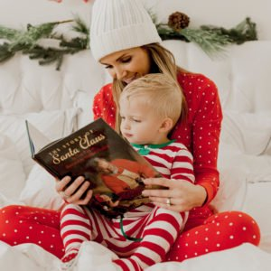 Red striped christmas pajamas for baby