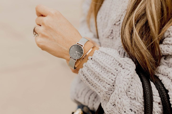 Rose Gold Cuff with a Petite DW Watch