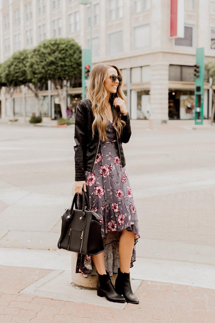 Hi-Low dress with black leather jacket