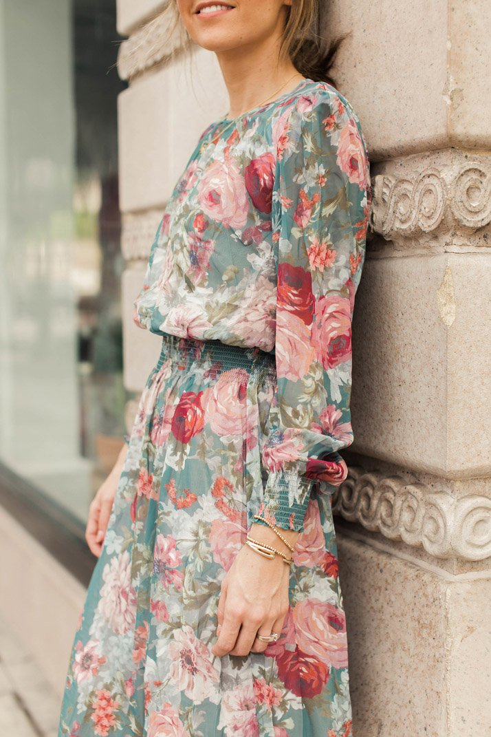 shirred waist floral dress