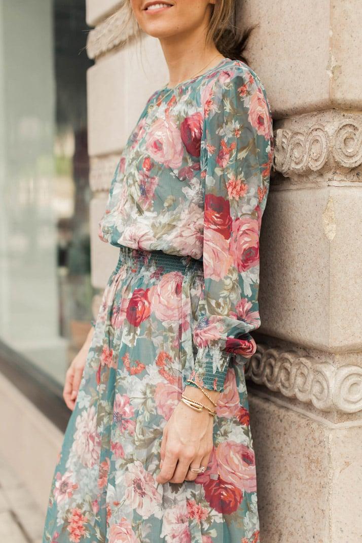 shirred waist floral dress