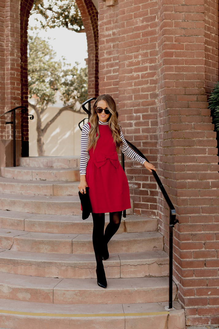 a bold red dress for a holiday party