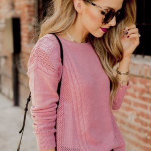 rose sweater and berry lip