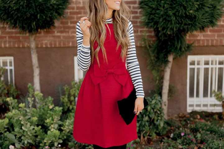 A red dress is a bold holiday statement perfect for your holiday party!