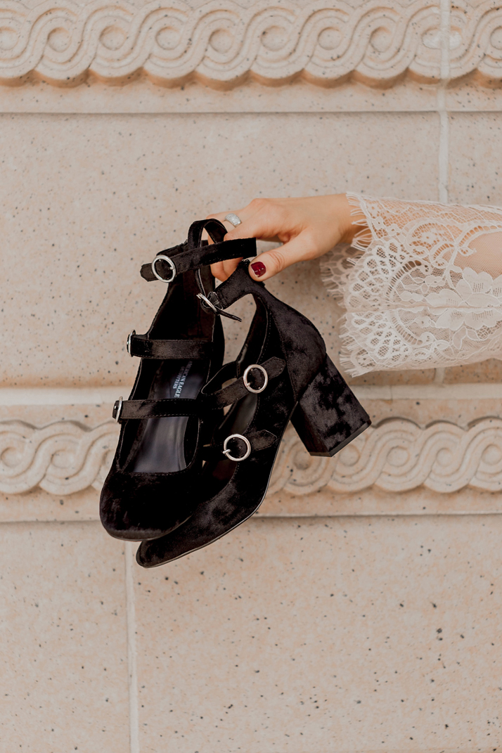 strappy black velvet block heel shoes