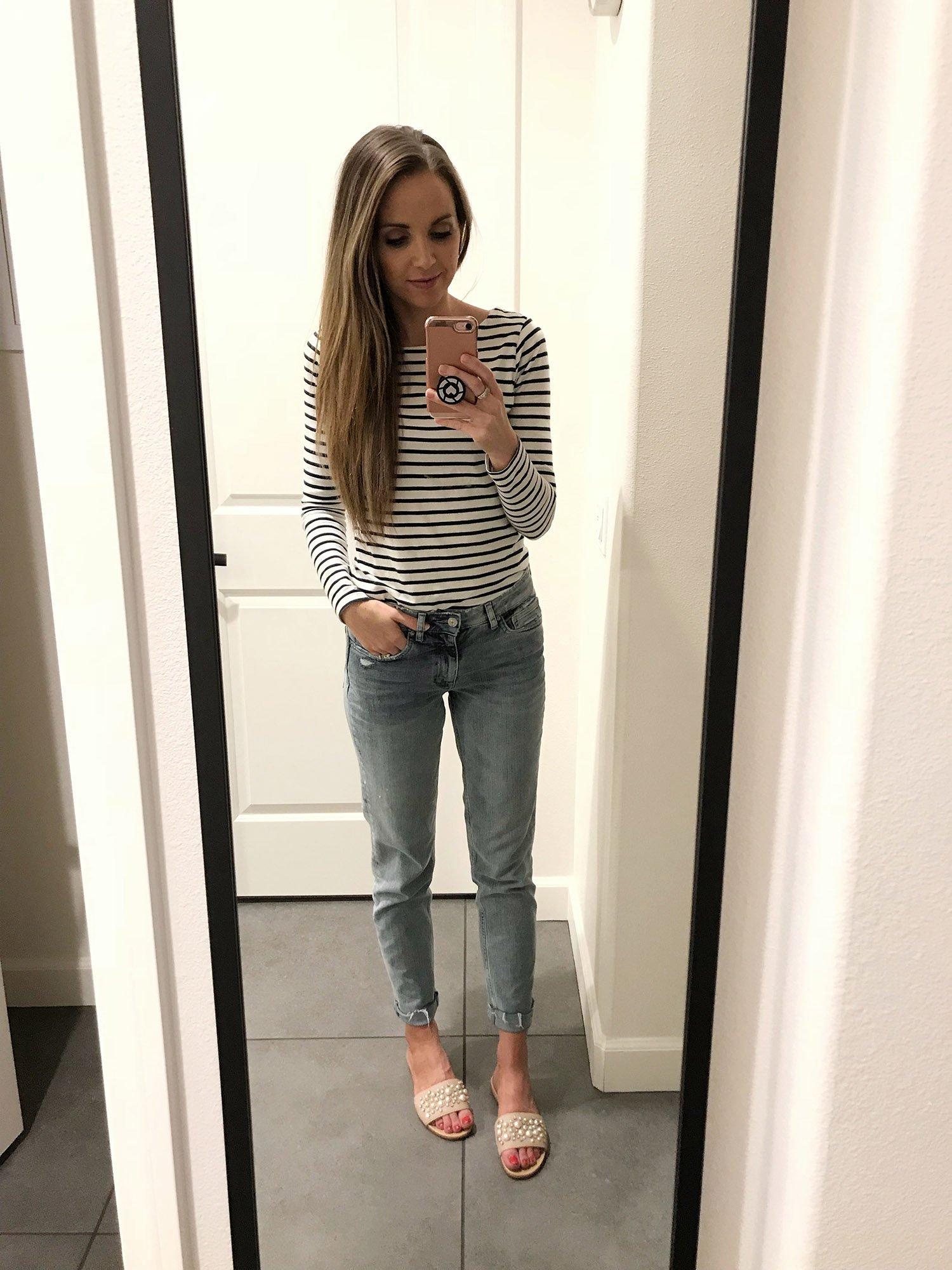 striped top and boyfriend jeans   merricksart.com