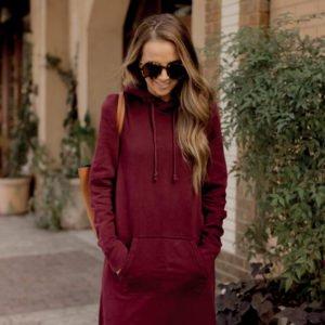 maroon hoodie dress