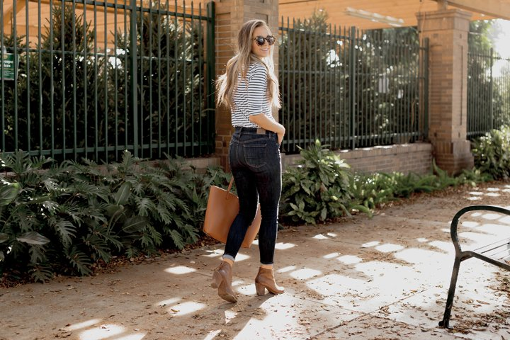 striped t-shirt and dark wash jeans