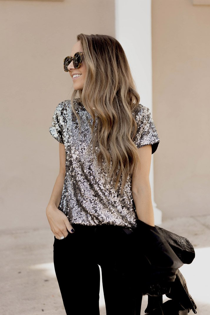 sequin top and loose curls