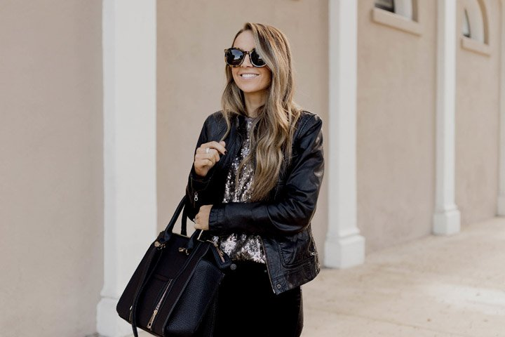 sequins and black leather jacket