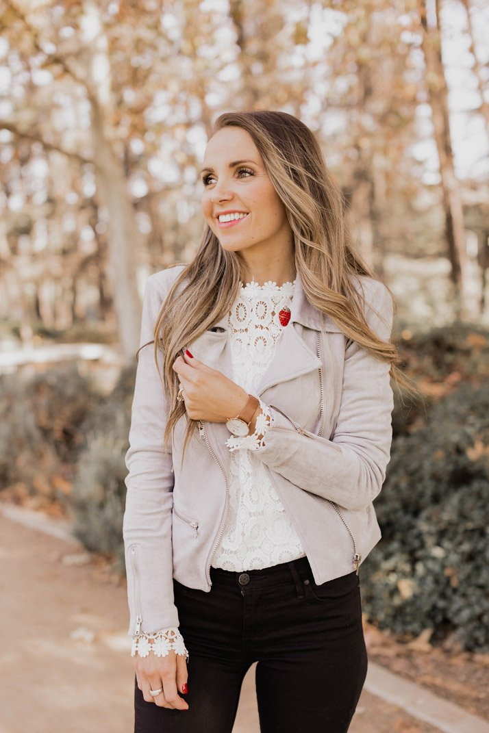 mon amie watches with a gray suede jacket and white lace top
