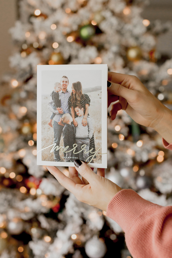 holiday cards with minted gold foil