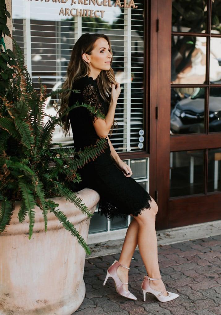 little black dress with strappy velvet heels