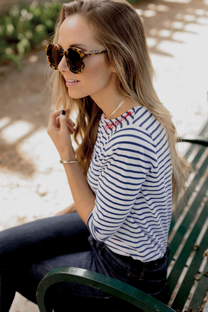 personalized striped tee