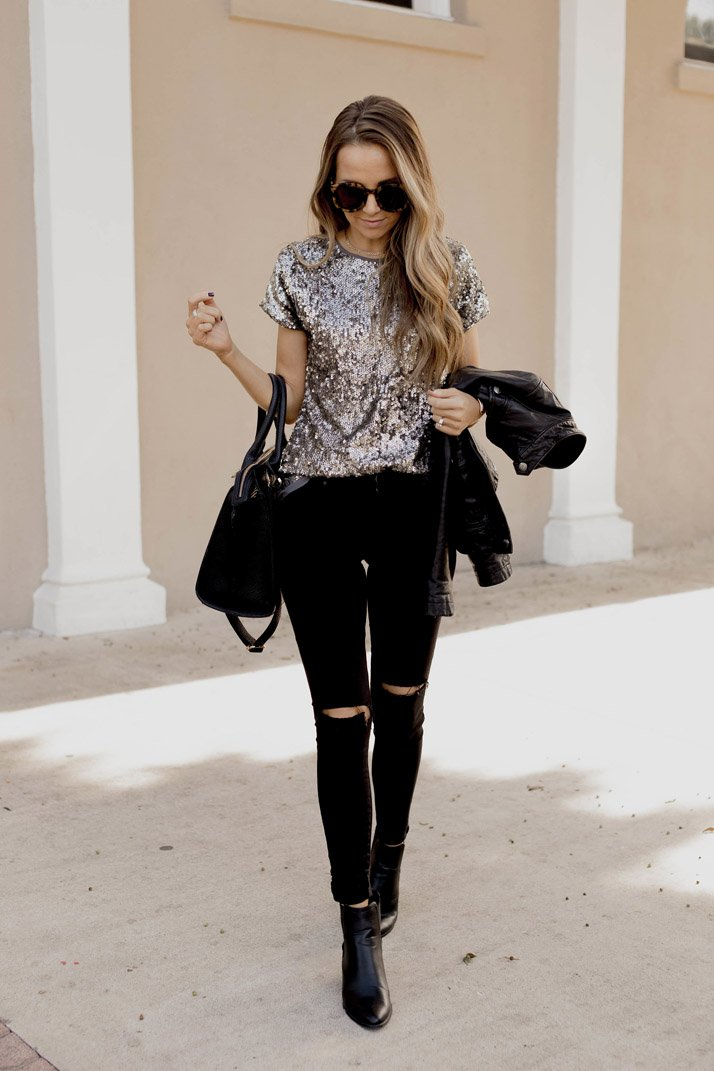 sequins and black jeans