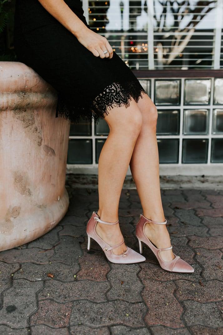 faux velvet pink heels