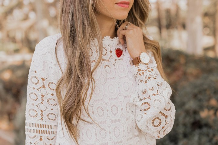 lace top and strawberry pin