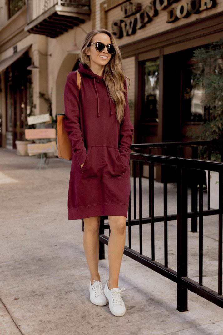 maroon comfy dress