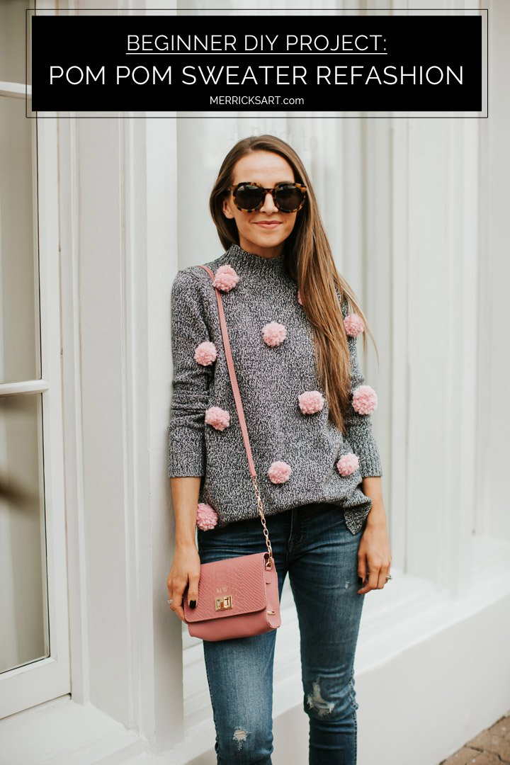 how to refashion a sweater to add pom poms