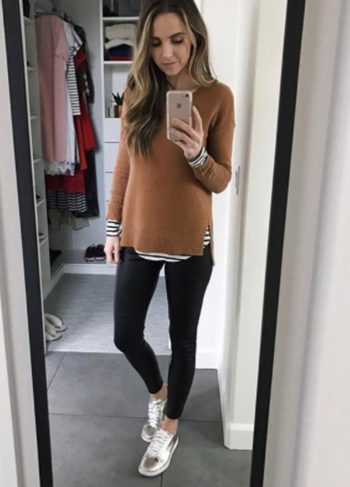 leggings with layered tops
