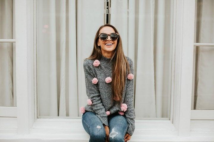 an easy pom pom sweater refashion