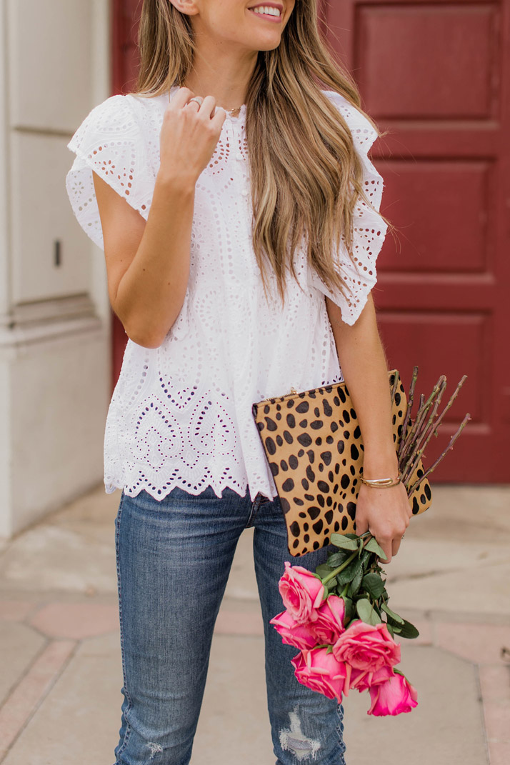 eyelet top and leopard clutch for valentine's day