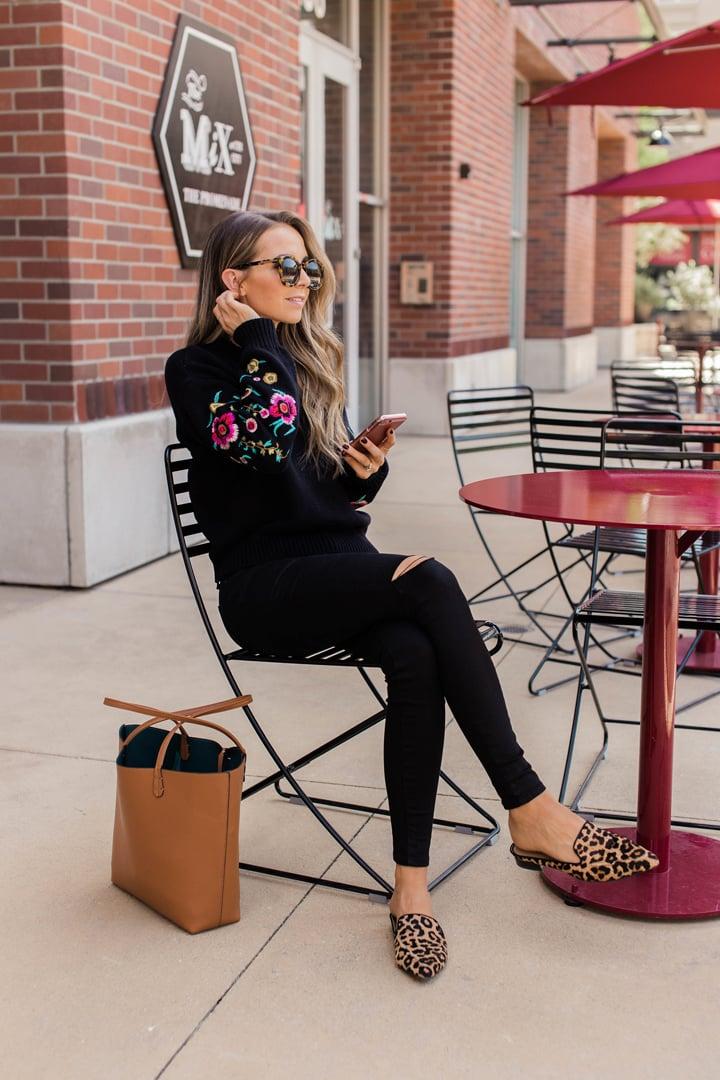 merricksart.com leopard flats and embroidered sweater