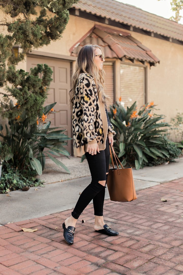 leopard cardigan and solid black