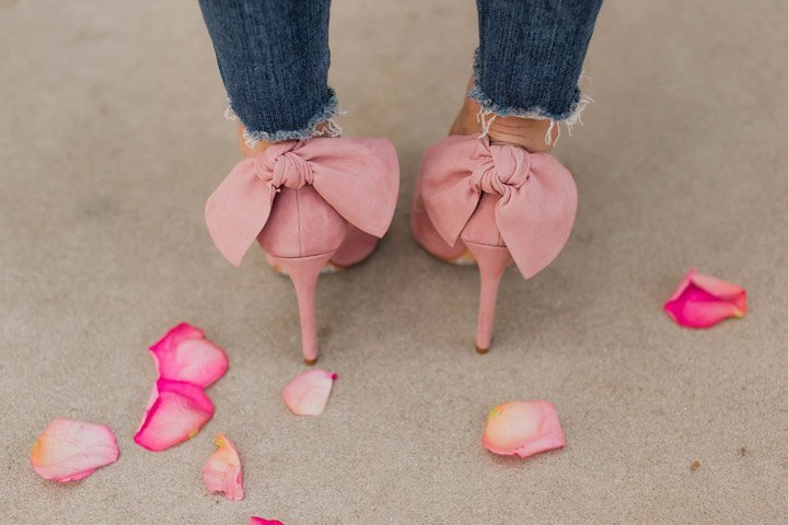 schutz pink bow pumps