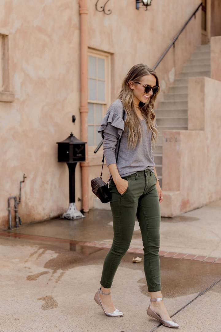 ruffle sweater and olive pants