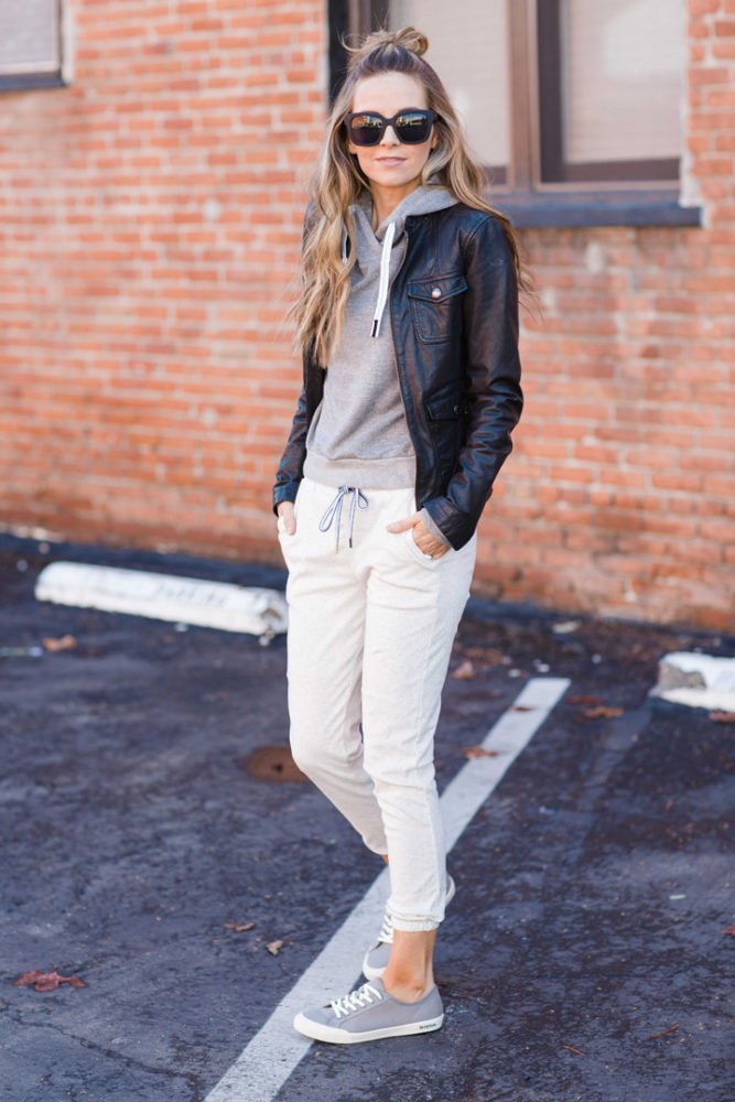 sweat pants and sneakers from Stitch Fix