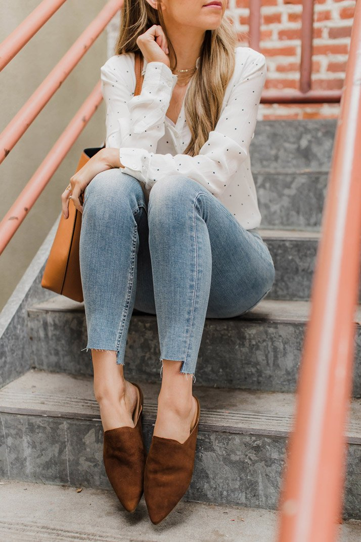 love these suede mules from lucky brand for spring!