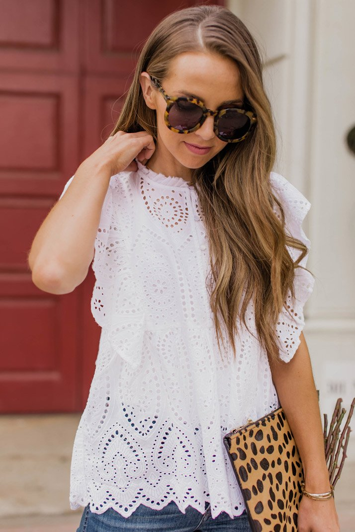 the prettiest eyelet top that is perfect for valentine's day!