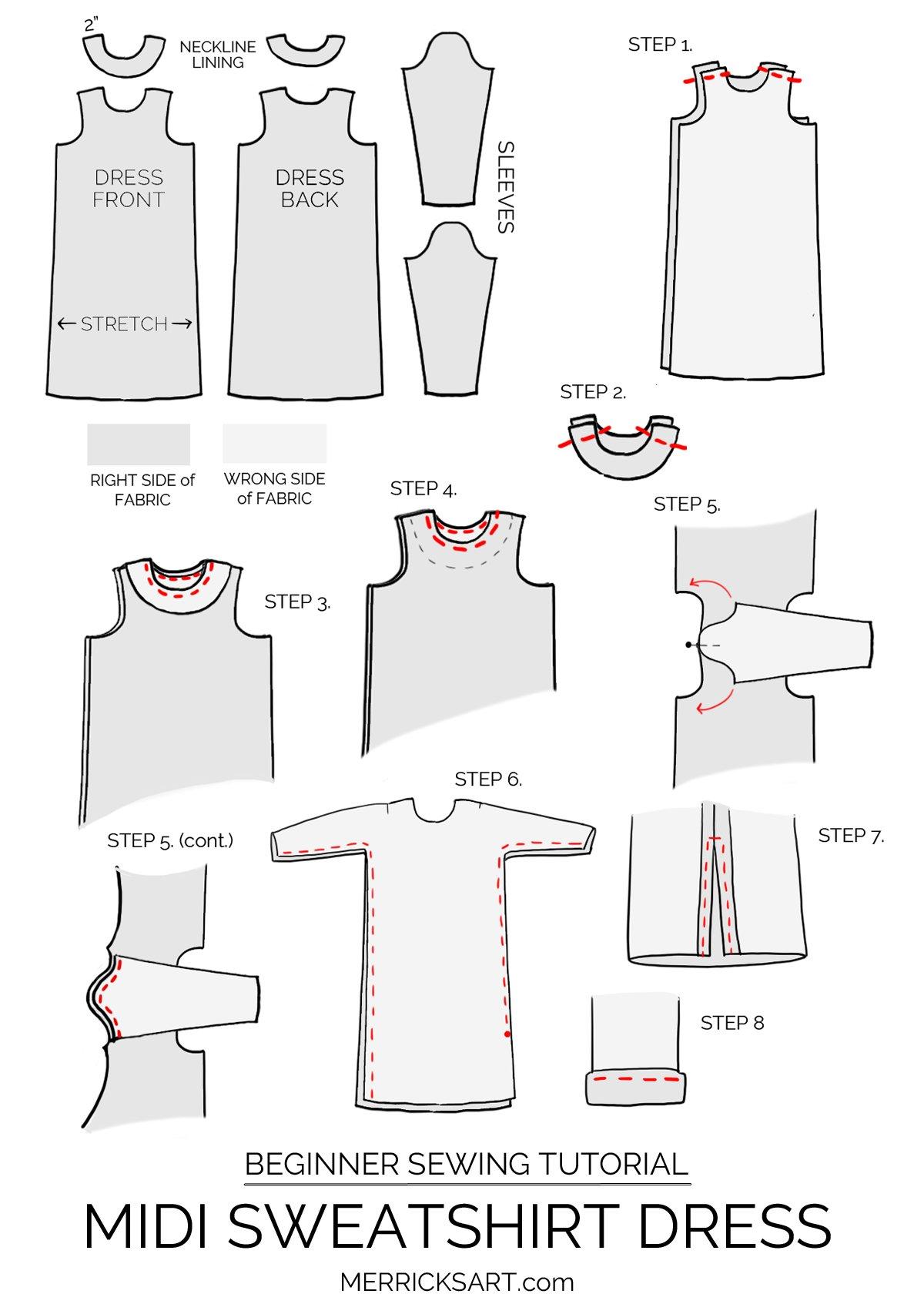 A beginner sewing tutorial for this cute midi sweatshirt dress