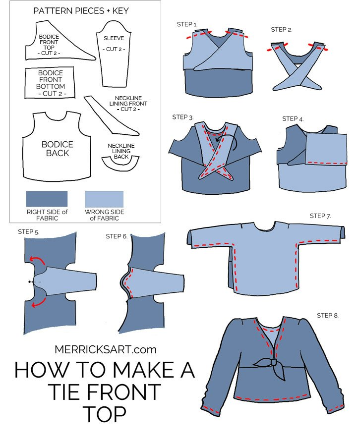 step by step instructions to make a tie front top