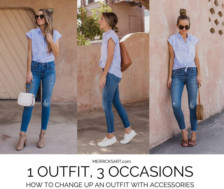 Three easy outfits from one shirt and jeans