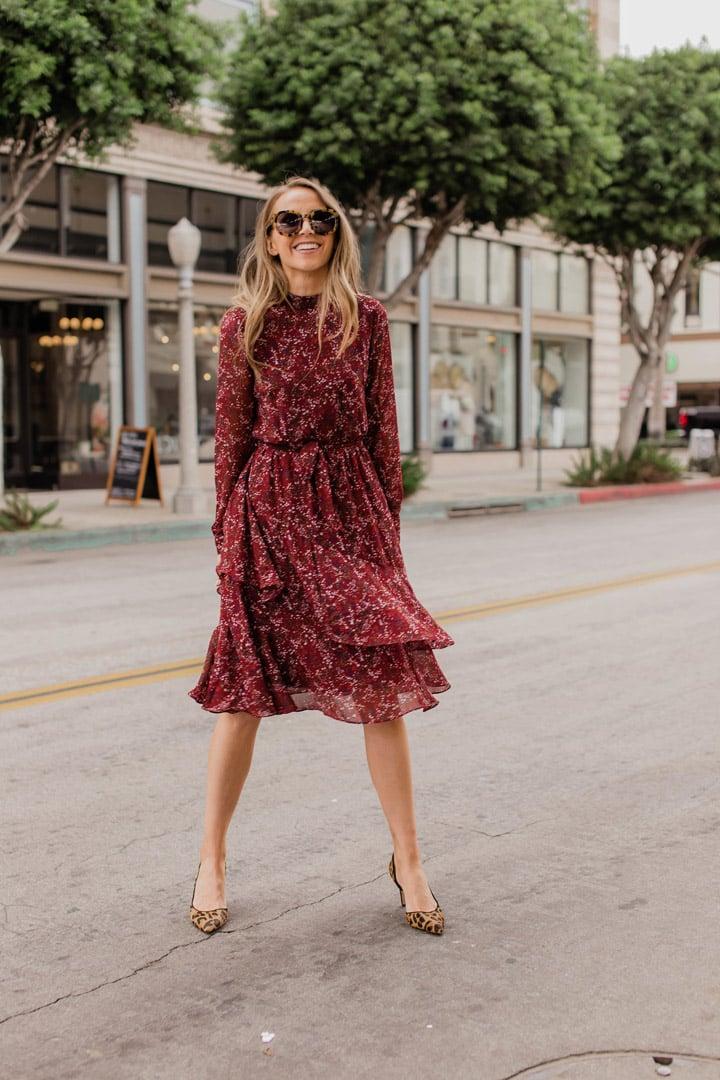burgundy floral dress and leopard pumps
