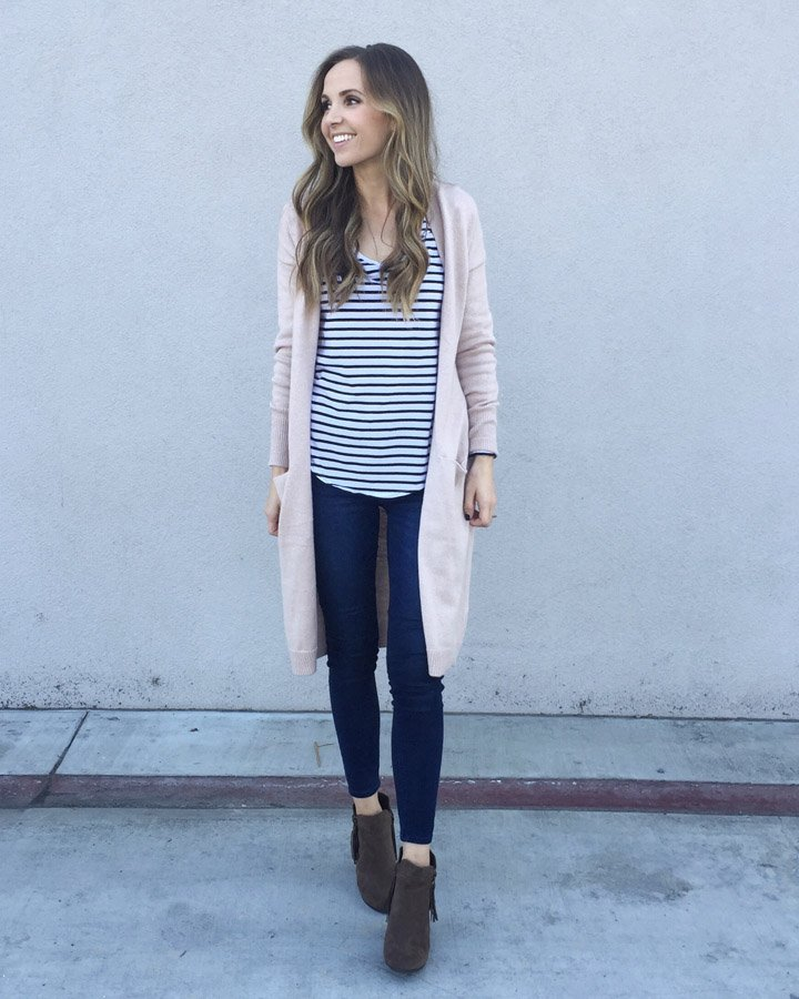 Duster cardigan with stripes and leggings