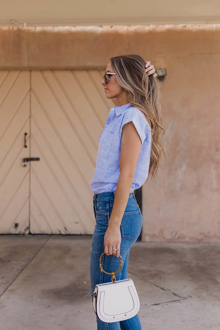 abercrombie button down and madewell jeans