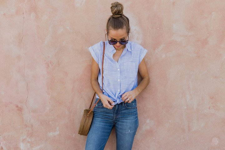 knot your shirt in front to make it feel summery and effortless