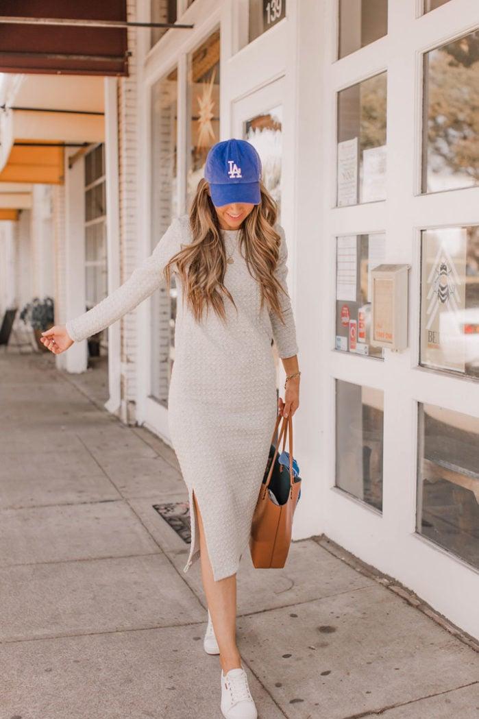 white sneakers gray sweatshirt dress