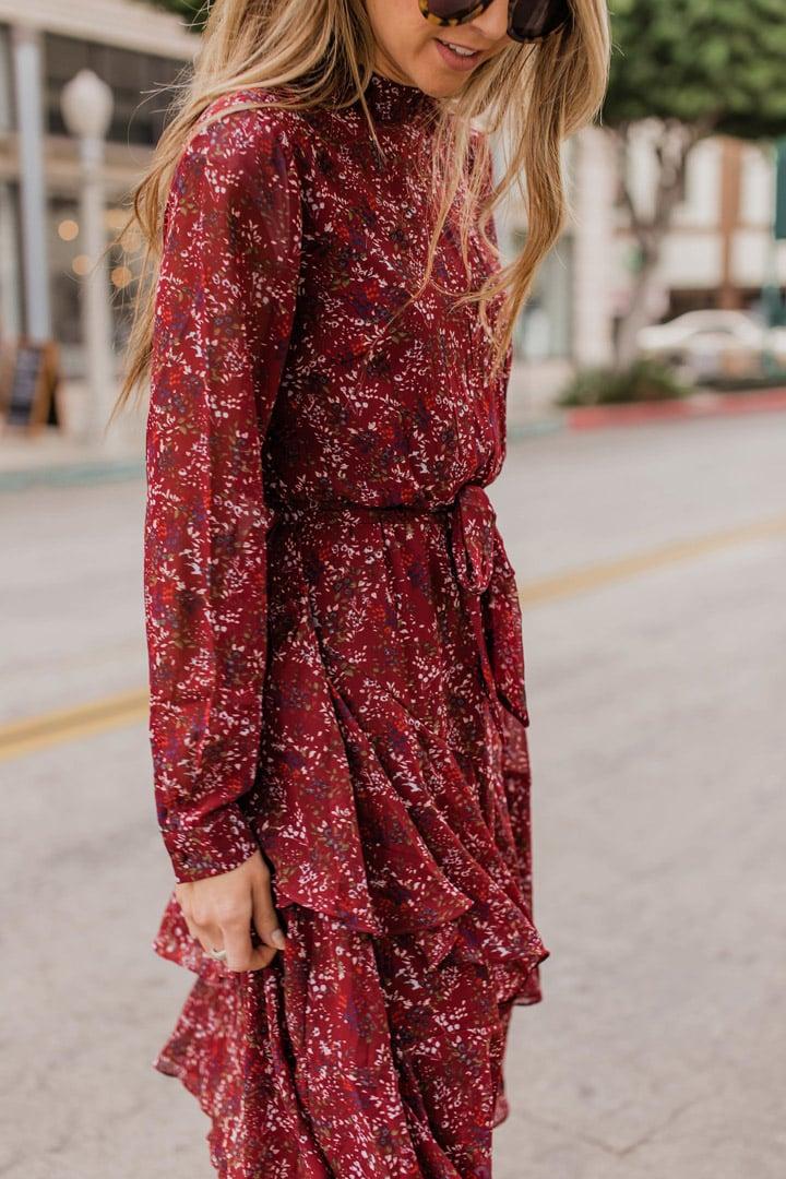tiny floral print on a burgundy dress