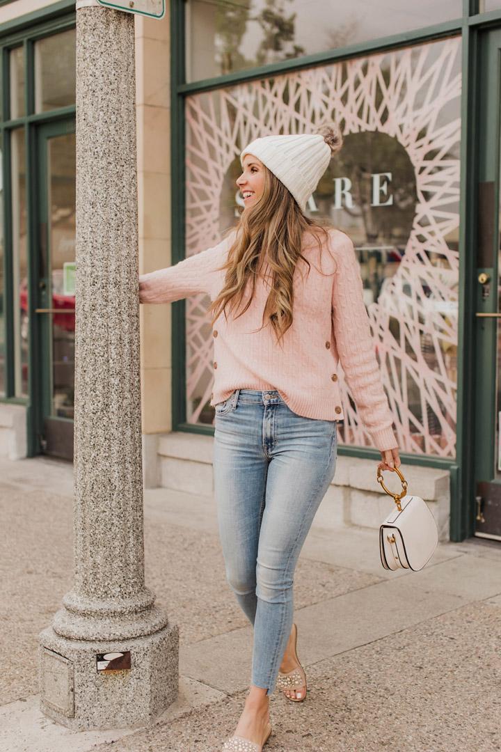 blush pink j.crew sweater