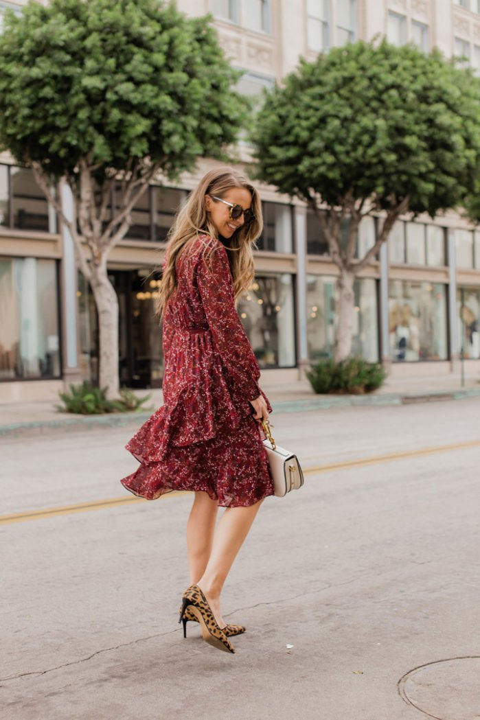 This burgundy dress is perfect with a pair of leopard pumps