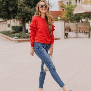 red ruffle sweater   merricksart.com